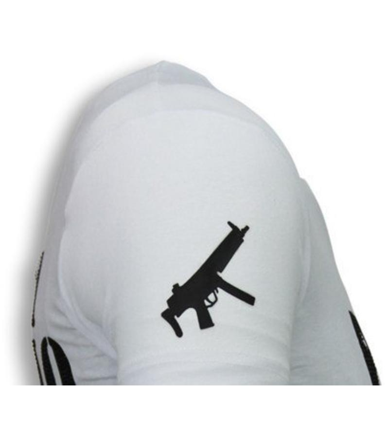 Local Fanatic Camisetas - Pablo Escobar Narcos Rhinestone Camisetas Personalizadas - Blanco