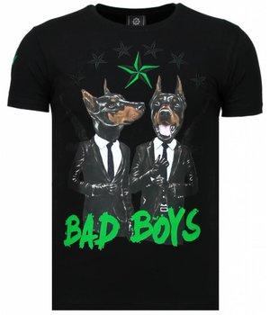 Local Fanatic Camisetas - Bad Boys Pinscher Rhinestone Camisetas Personalizadas - Negro