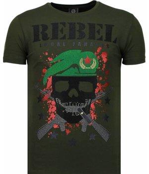 Local Fanatic Camisetas - Skull Rebel Rhinestone Camisetas Personalizadas - Verde
