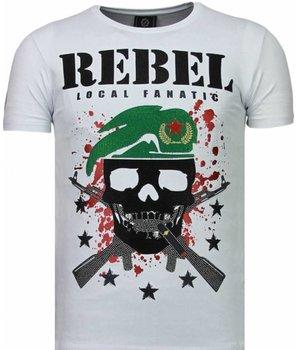 Local Fanatic Camisetas - Skull Rebel Rhinestone Camisetas Personalizadas - Blanco