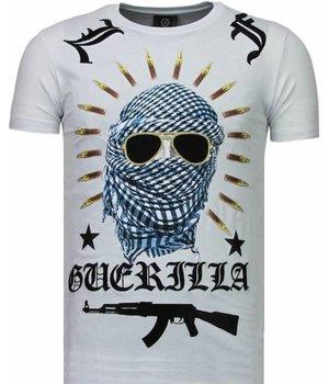 Local Fanatic Camisetas - Freedom Fighter Rhinestone Camisetas Personalizadas - Blanco