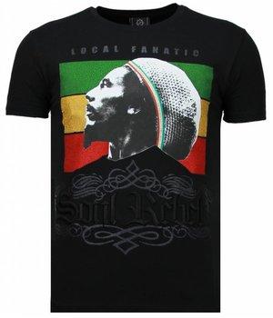 Local Fanatic Camisetas - Soul Rebel Bob Rhinestone Camisetas Personalizadas - Negro