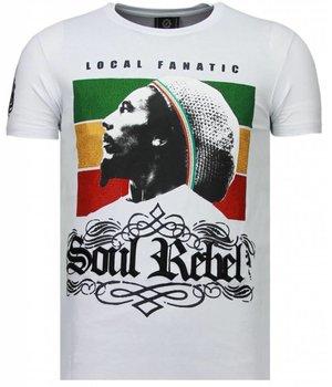 Local Fanatic Camisetas - Soul Rebel Bob Rhinestone Camisetas Personalizadas - Blanco