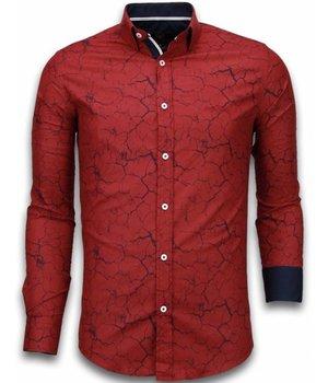 Gentile Bellini Camisas Italianas - Slim Fit Camisas - Blusa Modelo De Marmol - Bordeaux