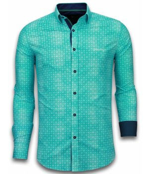 Gentile Bellini Camisas Italianas - Slim Fit Camisas - Blusa Modelo De Flor - Turquesa