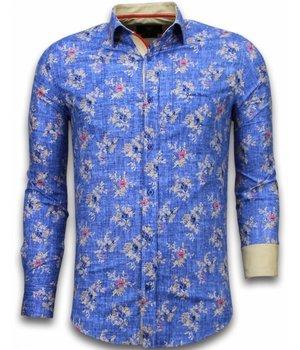Gentile Bellini Camisas Italianas - Slim Fit Camisas - Blusa Modelo De Flor – Azul