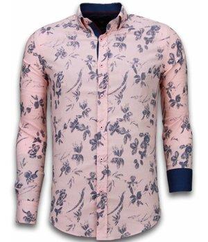 Gentile Bellini Camisas Italianas - Slim Fit Camisas - Blusa Modelo De Hawaii - Rosa