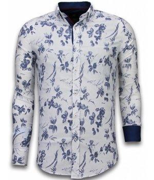 Gentile Bellini Camisas Italianas - Slim Fit Camisas - Blusa Modelo De Hawaii - Blanco