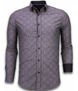 Gentile Bellini Camisas Italianas - Slim Fit Camisas - Blusa Modelo De Flor - Púrpura