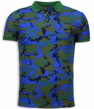 Black Number Camo Polo Shirt - Polo Neon Camuflaje - Azul