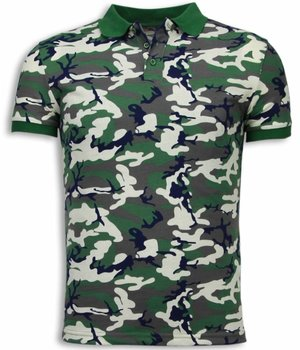 Black Number Camo Polo Shirt - Polo Neon Camuflaje - Beige / Verde
