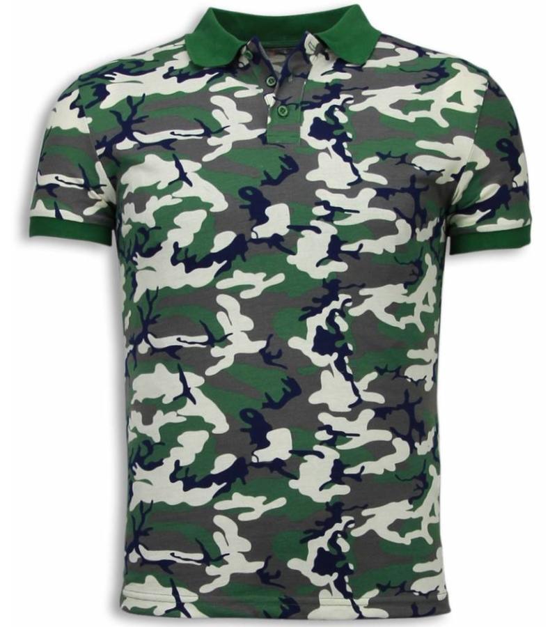 Black Number Camo Polo Shirt - Polo Neon Camuflaje- Beige / Verde