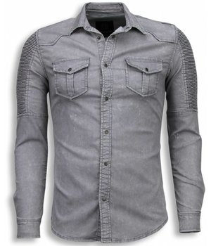 Diele & Co Biker Denim Shirt - Camesita Mezclilla Slim Fit - Gris