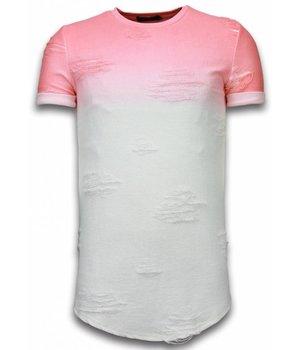 John H Camisetas - Flare Effect de dos colores Long Fit - Rojo Salmon