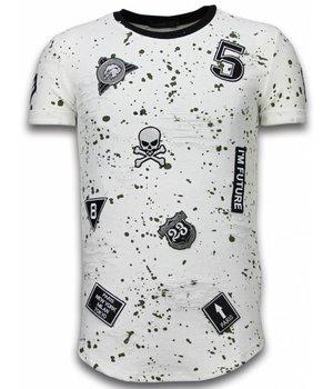 John H Paint Drops Army Shirt - Camesita Long Fit - Blanco