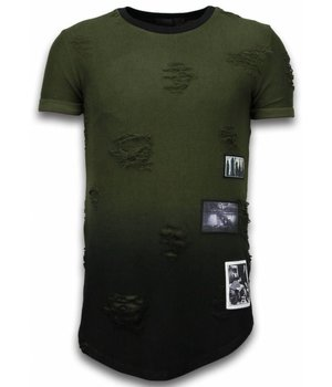 John H Camisetas - Pictured Flare Effect de dos colores Long Fit - Verde