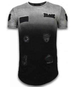 John H Camisetas - Leather Patched de dos colores LongFit - Negro
