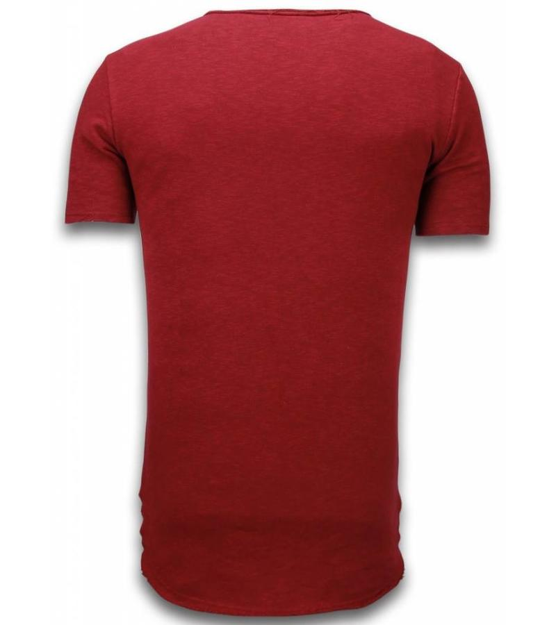 © MAN Camisetas - Damaged Look Shirt longFit - Burdeos