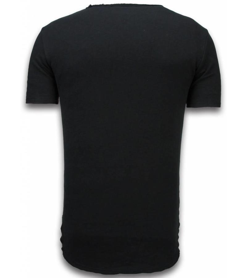 © MAN Camisetas - Damaged Look Shirt longFit - Negro