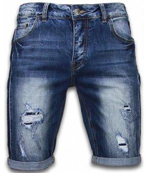 Enos Pantalones Cortos - Bermudas Hombre rasgados vintage Slim Fit - Azul