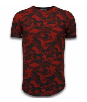 Berry Denim Casual Camouflage Pattern - Camesita Ventilado Slim Fit - Rojo