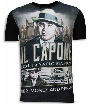 Local Fanatic Camisetas - Al Capone Mafioso Digital Rhinestone Camisetas Personalizadas - Negro