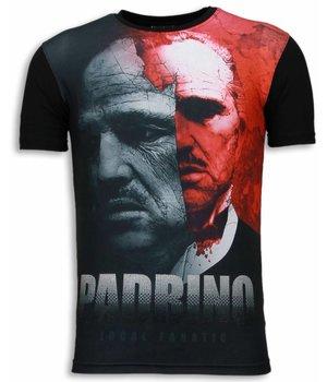 Local Fanatic Camisetas - El Padrino Digital Rhinestone Camisetas Personalizadas - Negro