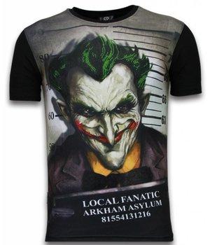 Local Fanatic Camisetas - The Joker Arkham Asylum Digital Rhinestone Camisetas Personalizadas - Negro