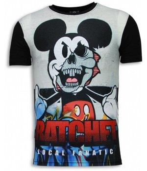Local Fanatic Camisetas - Ratchet Mickey Digital Rhinestone Camisetas Personalizadas - Negro