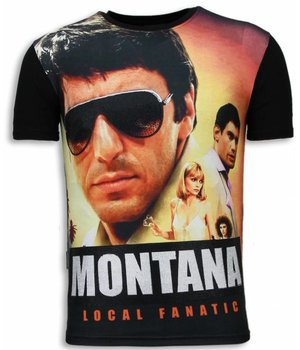 Local Fanatic Camisetas - Tony Montana Digital Rhinestone Camisetas Personalizadas - Negro