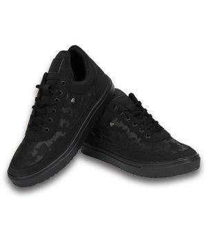 Cash Money Zapatillas - Zapatos para hombre low top Full Black Camouflage - Negro