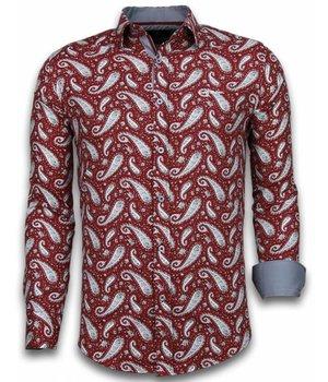 Gentile Bellini Camisas Italianas - Slim-fit Camisa Caballero - Blouse Flower Pattern - Burdeos