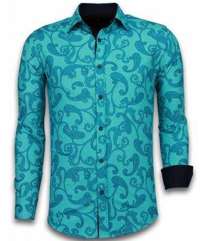 Gentile Bellini Camisas Italianas - Slim-fit Camisa Caballero - Blouse Baroque Pattern - Turquesa