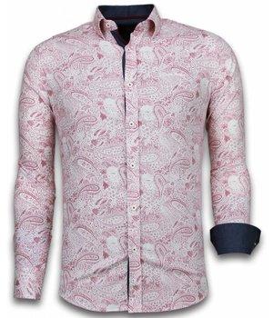 Gentile Bellini Camisas Italianas - Slim-fit Camisa Caballero - Blouse Allover Flower Pattern - Rojo