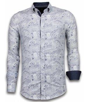 Gentile Bellini Camisas Italianas - Slim-fit Camisa Caballero - Blouse Allover Flower Pattern - Azul