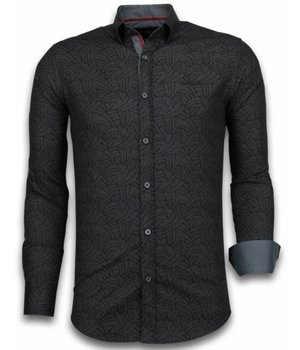 Gentile Bellini Camisas Italianas – Slim-fit Camisa Caballero - Blouse Dotted Leaves Pattern - Negro