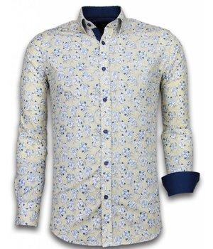 Gentile Bellini Camisas Italianas – Slim-fit Camisa Caballero - Blouse Drawn Flower Pattern - Beige