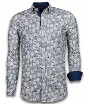 Gentile Bellini Camisas Italianas – Slim-fit Camisa Caballero - Blouse Drawn Flower Pattern - Azul