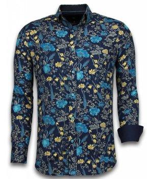 Gentile Bellini Camisas Italianas – Slim-fit Camisa Caballero - Blouse Coloured Flower Pattern - Azul