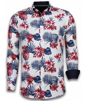 Gentile Bellini Camisas Italianas - Slim-fit Camisa Caballero - Blouse Big Flower Pattern - Blanco