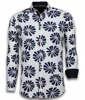 Gentile Bellini Camisas Italianas – Slim-fit Camisa Caballero - Blouse Big Leave Pattern - Blanco
