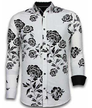 Gentile Bellini Camisas Italianas – Slim-fit Camisa Caballero - Blouse Flower Pattern - Blanco