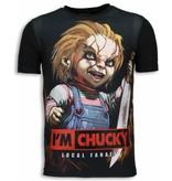 Local Fanatic Camisetas - I´m Chucky Digital Rhinestone Camisetas Personalizadas - Negro
