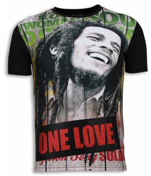 Local Fanatic Camisetas - Bob Marley One Love Digital Rhinestone Camisetas Personalizadas - Negro