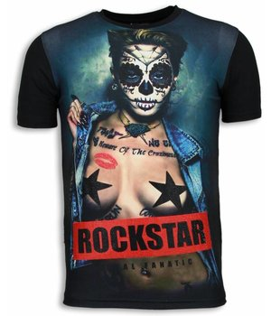 Local Fanatic Camisetas - Rockstar Digital Rhinestone Camisetas Personalizadas - Negro