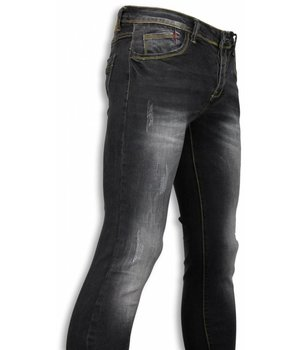 Black Ace Vaqueros - Black Stone Washed Regular Fit Pantalones Vaqueros- Negro
