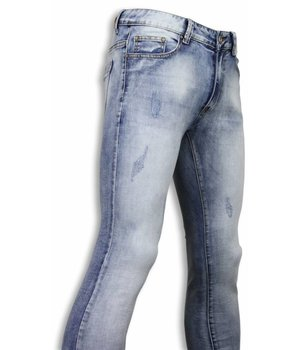 DKLIC Jeans Vaqueros - Light Blue Damaged Slim Fit Pantalones Vaqueros- Azul Claro
