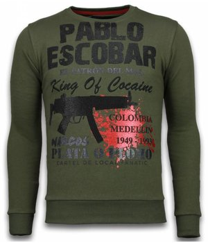 Local Fanatic Sudaderas - Pablo Escobar Rhinestone Sudaderas hombre - Verde