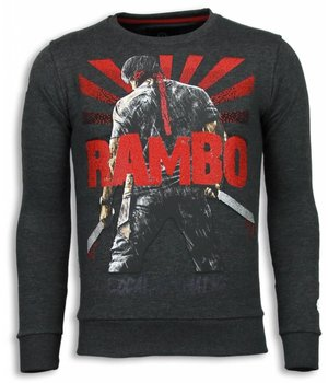 Local Fanatic Sudaderas - Rambo Rhinestone Sudaderas hombre - Antracita