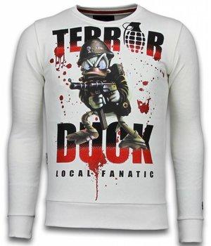 Local Fanatic Sudaderas - Terror Duck Rhinestone Sudaderas hombre - Blanco